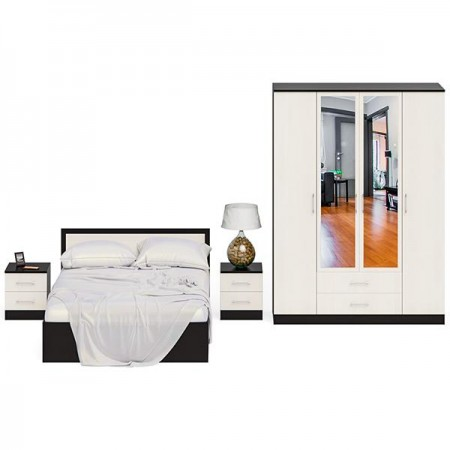 Гарнитур спальный Фиеста Кровать 1400 + Две тумбы + Шкаф 4-х створчатый цвет венге/дуб лоредо