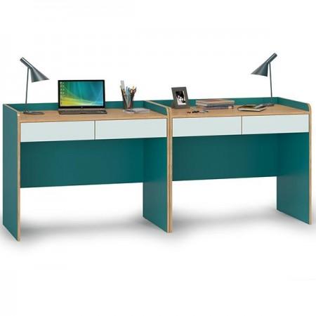 Два письменных стола Гудвин цвет бензин/гикори рокфорд натуральный/мята