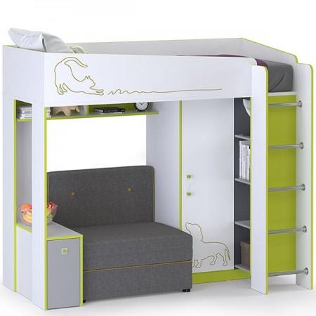 Детская Кровать-чердак с диванным блоком Альфа
