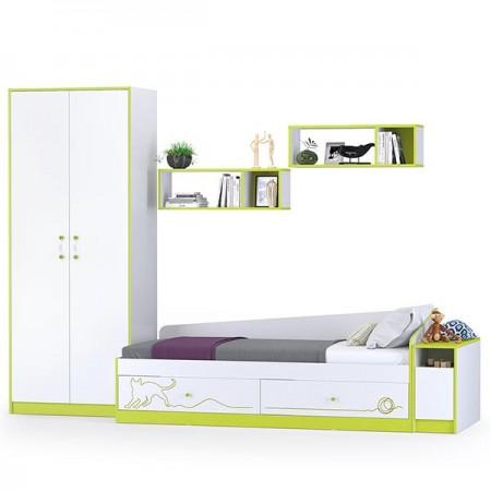 Детская кровать с ящиками, полками, шкафом и тумбой Альфа цвет лайм зелёный/белый премиум