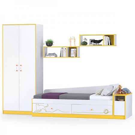 Детская кровать с ящиками, полками, шкафом и тумбой Альфа цвет солнечный свет/белый премиум