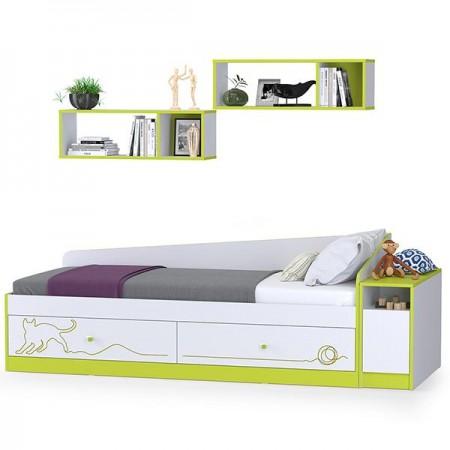 Детская кровать с ящиками, полками и тумбой Альфа цвет лайм зелёный/белый премиум