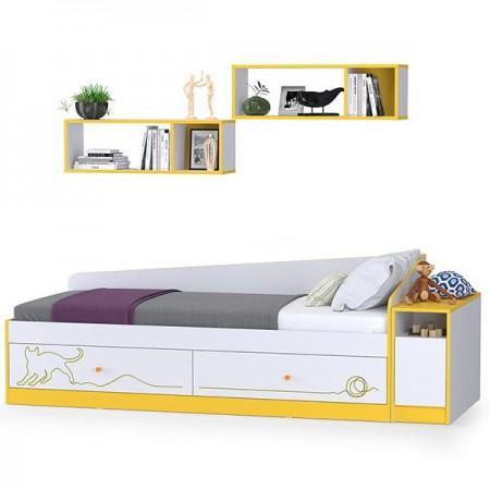 Детская кровать с ящиками, полками и тумбой Альфа цвет солнечный свет/белый премиум