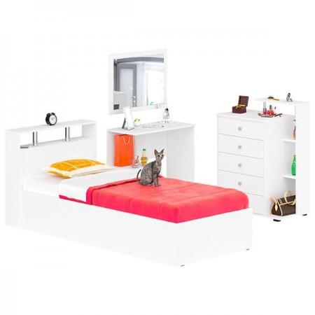 Гарнитур спальный Камелия № 7 Кровать 900 цвет белый