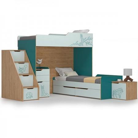 Детская спальня для двоих детей Гудвин цвет бензин/гикори рокфорд натуральный/мята