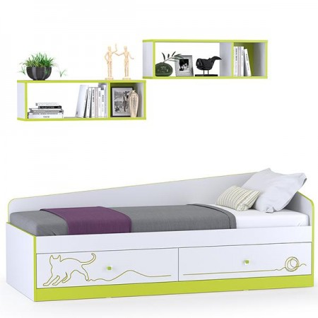 Детская кровать с ящиками и полками Альфа цвет лайм зелёный/белый премиум