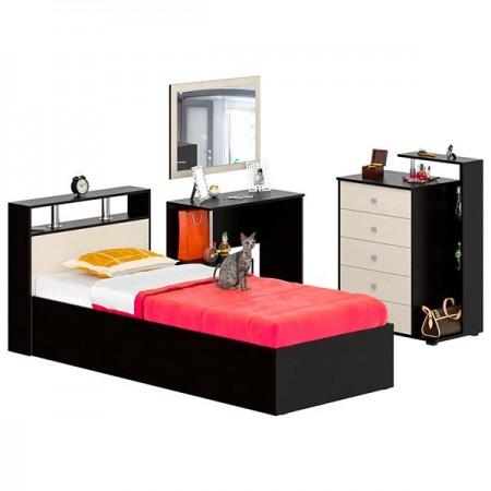 Гарнитур спальный Камелия № 7 Кровать 900 цвет венге/дуб лоредо