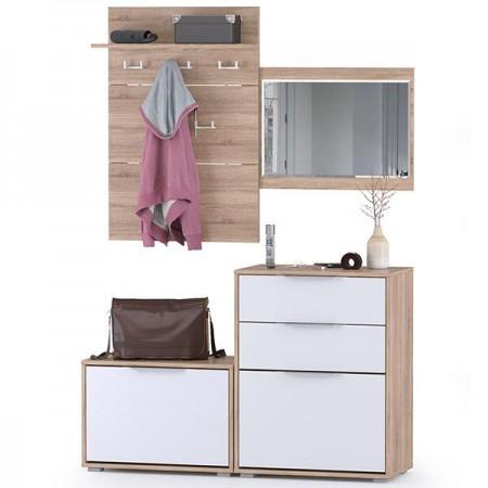 Две обувницы с зеркалом и вешалкой для одежды Куба цвет дуб сонома/белый премиум