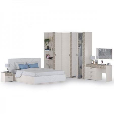 Гарнитур спальный Амели Моби № 2 цвет шёлковый камень/бетон чикаго беж/искусственная кожа белая