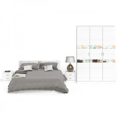 Гарнитур спальный Елена № 2 цвет белый/белый глянец