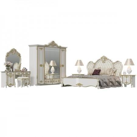 Гарнитур спальный Дольче Вита № 2, цвет белый глянец с золотом