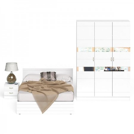 Спальный гарнитур Елена № 3 цвет белый/белый глянец
