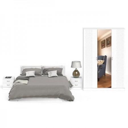Гарнитур спальный Ручеёк № 2 цвет белый/белый глянец