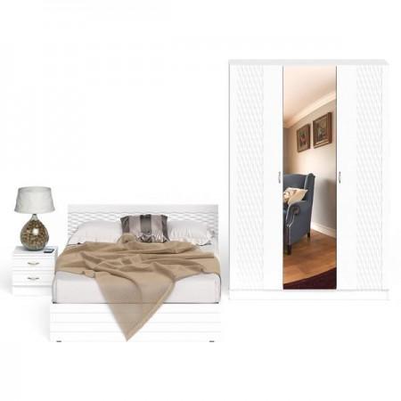 Спальный гарнитур Ручеёк № 3 цвет белый/белый глянец