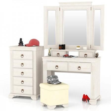 Амели ЛД-642-350+360+400+600 Стол туалетный + зеркало + комод + пуф
