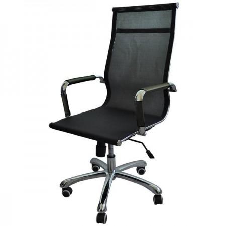 Металлические компьютерное Кресло Барбара Стиль 1Х (КЛ2095), сетка чёрная, высокая спинка
