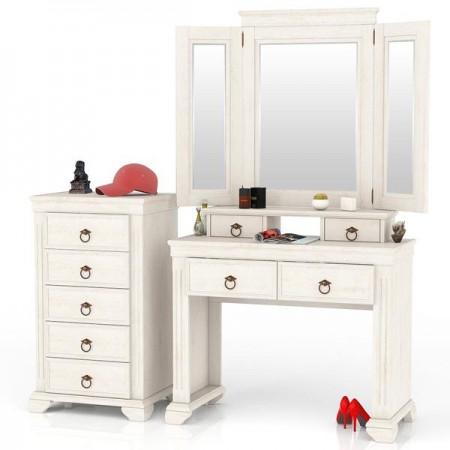 Амели ЛД-642-350+360+400 Стол туалетный + зеркало + комод