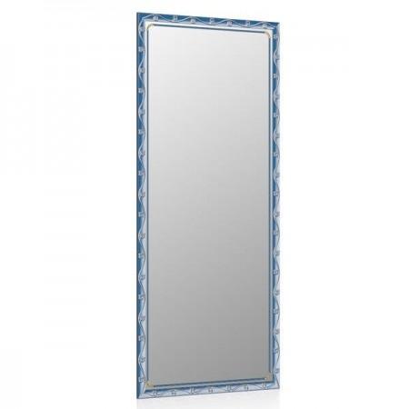 Высокое зеркало в прихожую 50х120 см. синий металлик, орнамент цветок