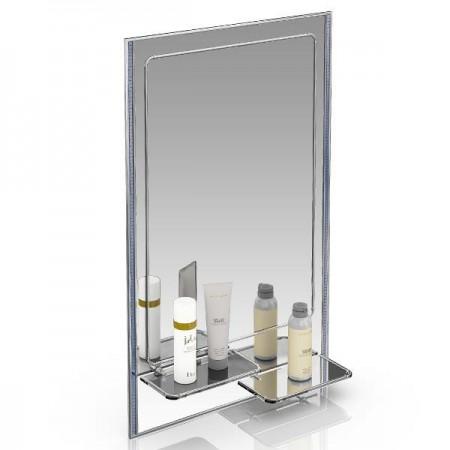 Зеркало 45х75 см. с двумя полочками 123ПЛ серебро куб голубой
