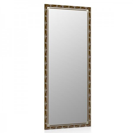 Высокое зеркало в прихожую 50х120 см. тосканский орех, орнамент цветок