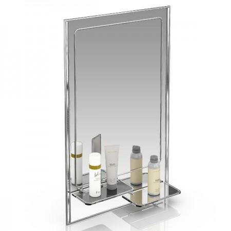 Зеркало 45х75 см. с двумя полочками 123ПЛ серебро куб серебро