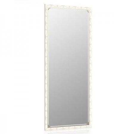Высокое зеркало в прихожую 50х120 см. белое, орнамент цветок