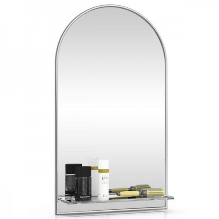 Зеркало 46х80 см. с полкой 329Ш серебро