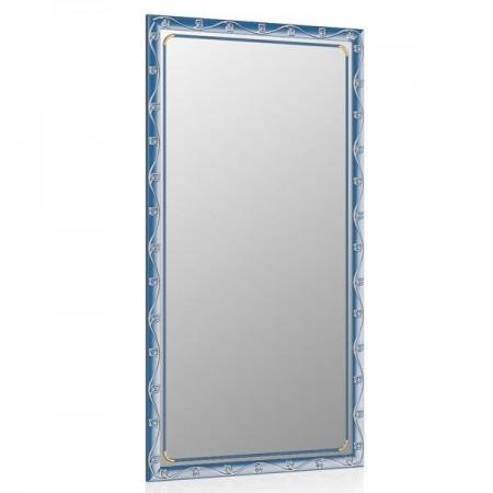 Зеркало 45х85 см., цвет синий металлик, орнамент цветок