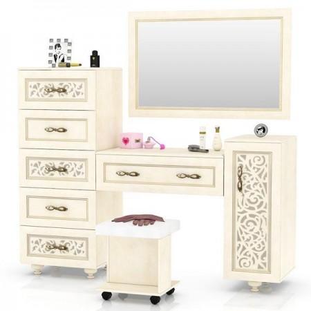 Александрия ЛД-625-090 + 110+120+130 Комод высокий + Стол туалетный + Зеркало + Пуф