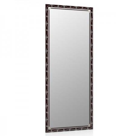 Высокое зеркало в прихожую 50х120 см. махагон, орнамент цветок