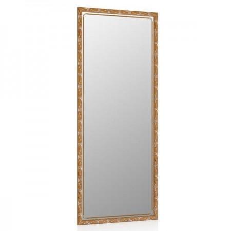 Высокое зеркало в прихожую 50х120 см. тёмный орех, орнамент цветок