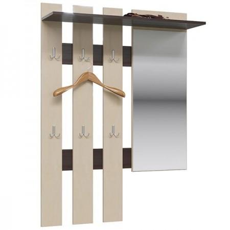 Вешалка настенная Лира ГК с зеркалом цвет венге/берёза