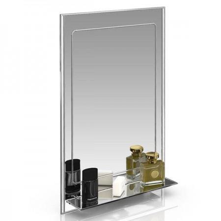 Зеркало 124Д серебро с белым, ШхВ 50х80 см.