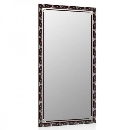 Зеркало 45х85 см., цвет махагон, орнамент цветок