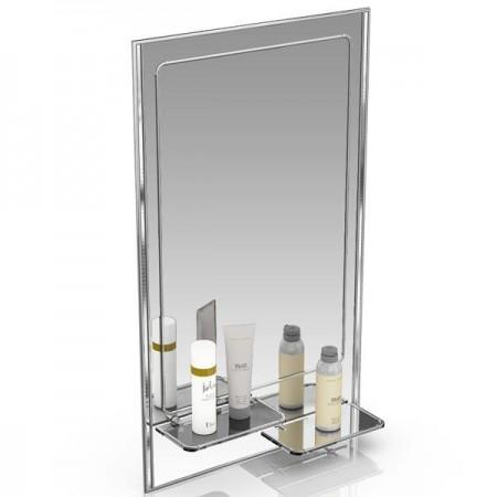 Зеркало 45х75 см. с двумя полочками 123ПЛ серебро с белым
