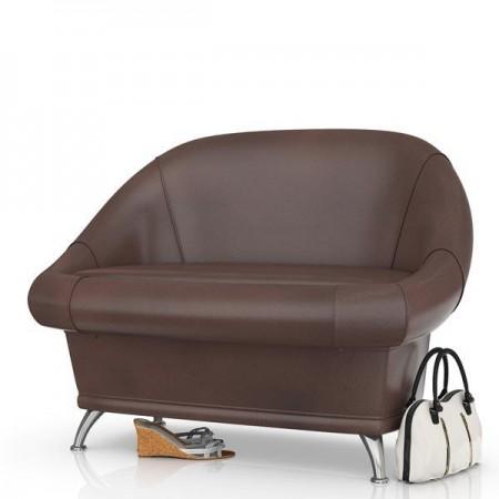 Банкетка  для Прихожей Орион (Диван Орион в прихожую) материал тёмно-коричневая искусственная кожа