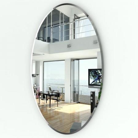 Высокое овальное зеркало с фацетом 058Ф 65х110 см.