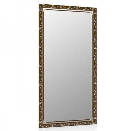 Зеркало 45х85 см., цвет тосканский орех, орнамент цветок