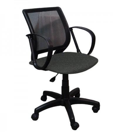 Домашнее компьютерное кресло Тедди ткань В40, цвет серый, спинка чёрная сетка