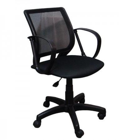 Домашнее компьютерное кресло Тедди ткань В14, цвет чёрный, спинка чёрная сетка