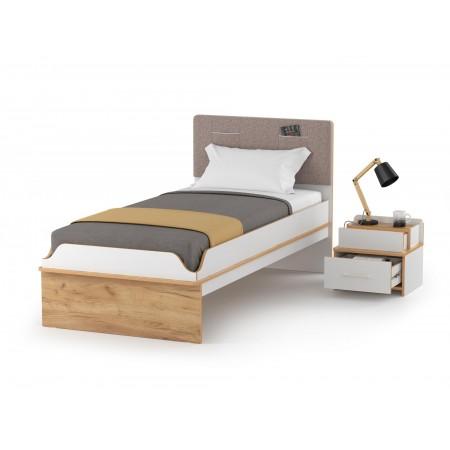 Детская кровать с тумбочкой Вуди цвет белый премиум/дуб крафт золотой
