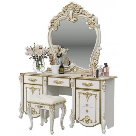 Столик туалетный с зеркалом Дольче Вита, цвет белый глянец с золотом